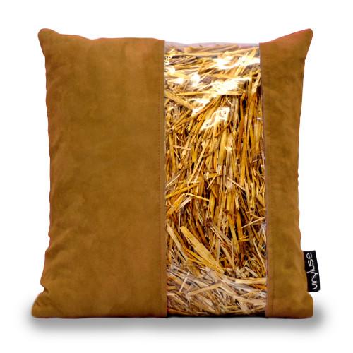 Cuscino avana con striscia in paglia