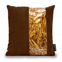 Cuscino in paglia striscia marrone